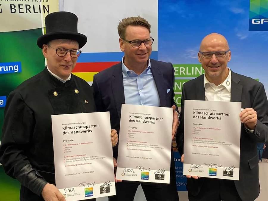 Messestand der Schornsteinfeger-Innung Berlin auf der bautec Messe am 21. Februar 2020